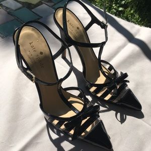 Black patent and clear striped Kate Spade heels
